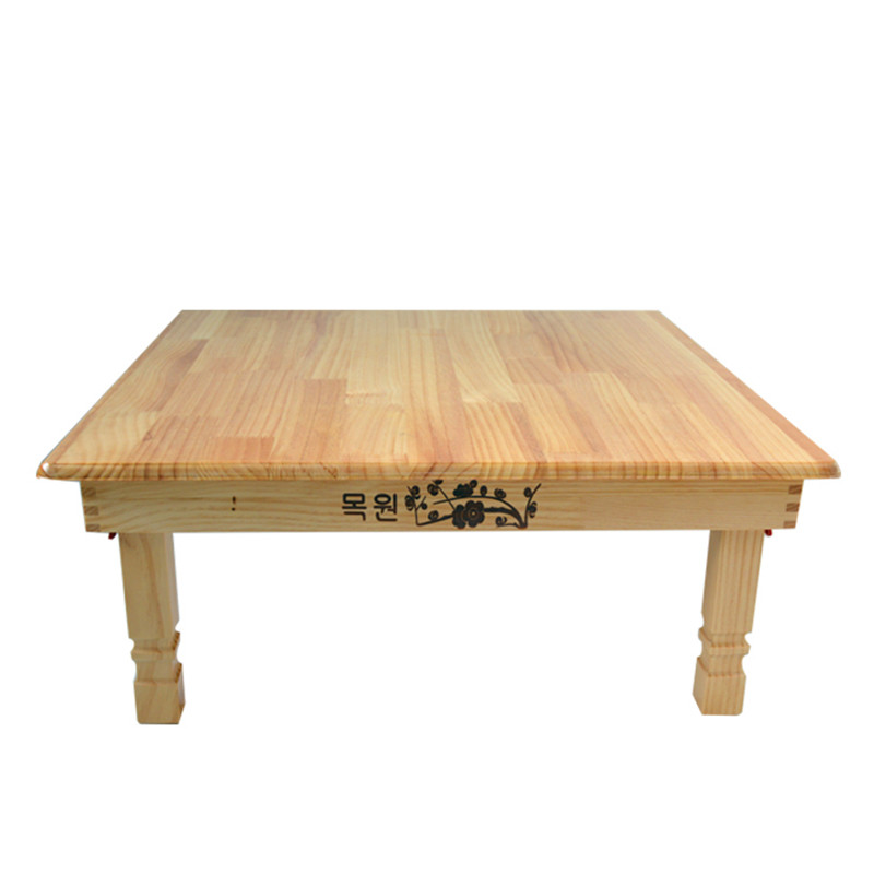 Square Korean Folding Table Natural Finish Contemporary Style Living Room Furniture Floor Tea Table For Dining Kang Table Wooden