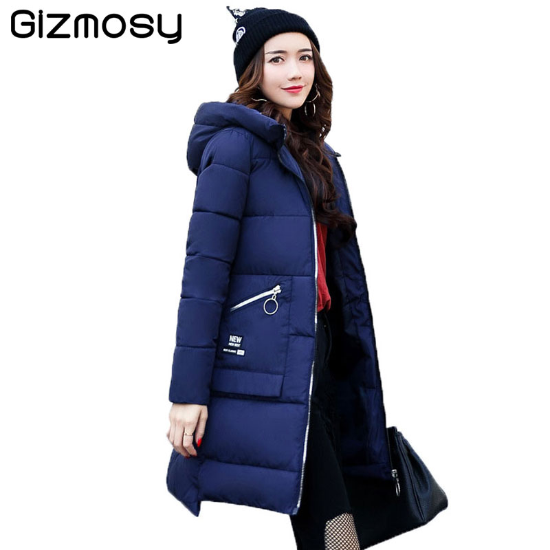 2017 Winter Long Jacket Women Winter Hooded Warm Coats Female Warm Padded Parkas Solid Outwear abrigos mujer invierno SY1240 2017 new winter warm hooded long women s coats thick cotton jacket women embroidery letter vintage overcoat parkas abrigos mujer