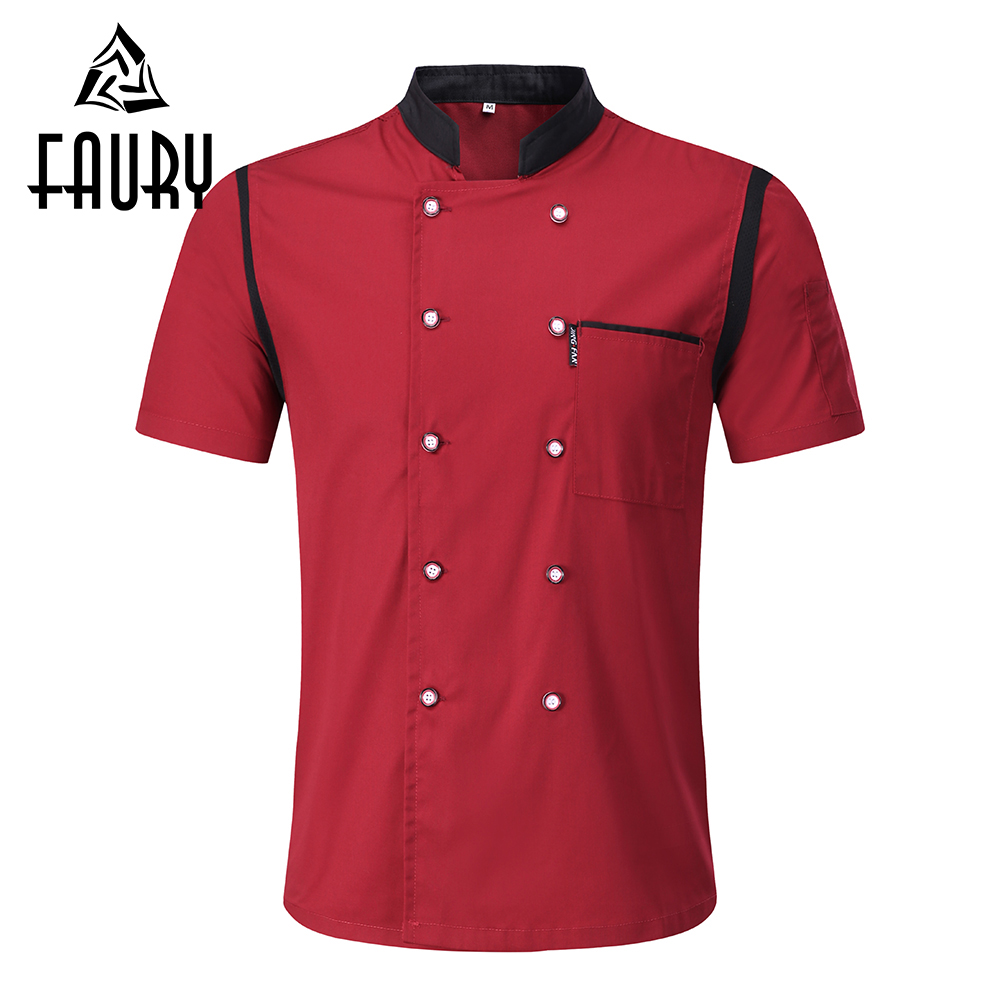 Unisex Patchwork Chef Jackets Stand Collar Double Breasted Catering Restaurant Kitchen Cooking Work Clothes Waiter Uniform Apron