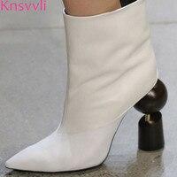 Knsvvli Newest Strange Style Heel Ankle Boots For Women Sheepskin Slip On White Boots Ladies High Fashion Short Boots Women