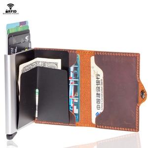 Image 5 - VM FSAHION قبلة جلد طبيعي RFID حجب بساطتها محافظ التلقائي المنبثقة البسيطة بطاقة محفظة جلدية بطاقة محفظة Cardholde
