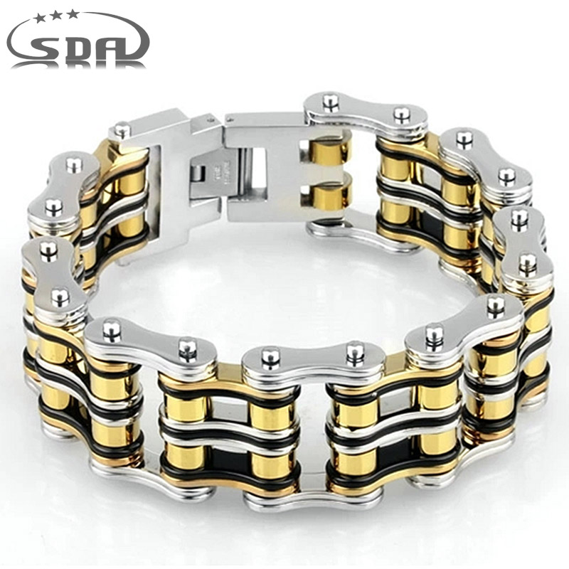 SDA 24mm Width Punk 316L Stainless Steel Bracelet Men Biker Bicycle Motorcycle Chain Men's Bracelets Mens Bracelets & Bangles trustylan shiny glossy 316l stainless steel mens bracelets 2018 20mm wide chain bracelets jewellery accessory man bracelet