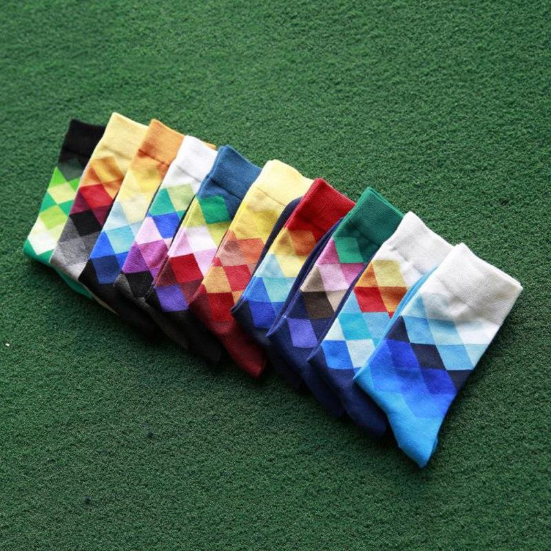 Brand Happy Socks Gradient Color Summer Style Cotton Wedding Sock Men Knee Business Socks Men Sock Hot Sell