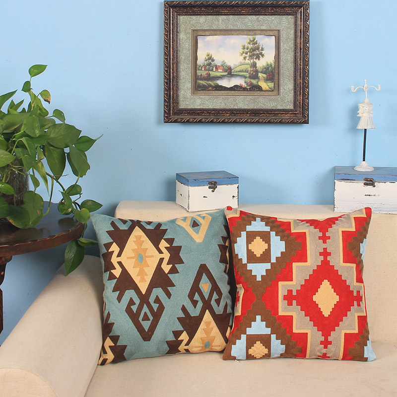 Cotton/Linen Embroidery Throw Cushions Cover Sofa <font><b>Scandinavian</b></font> Pillow Case <font><b>Home</b></font> <font><b>Decorative</b></font> Geometric Pillow Shell Cushion Sham