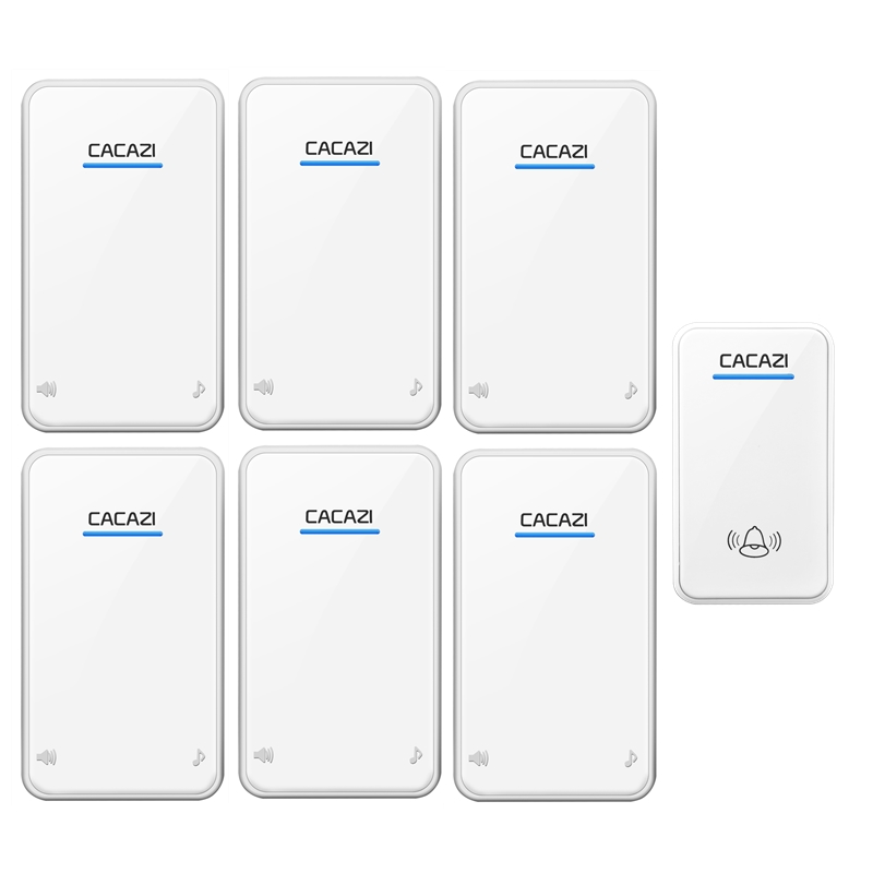 CACAZI 1 transmitter+6 receivers door bell AC 100-240V waterproof wireless doorbll 48 rings door chime UK/US/EU plug ring bell cacazi ac 110 220v wireless doorbell 1 transmitter 6 receivers eu us uk plug 300m remote door bell 3 volume 38 rings door chime