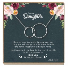 Mother Daughter Necklaces Pendant Two Interlocking Infinity Double Circles Choker Jewelry Birthday Gifts For