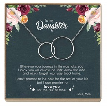 цены Rose Gold Necklace Women Infinity Double Circles Pendant  Two Interlocking Choker Necklaces & Pendant For Daughter From Mom