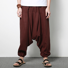 2017 Spring New Mens Casual Pant China Style Men Wide Leg Harem Pants Linen Male Fashion Loose Trousers Plus Size