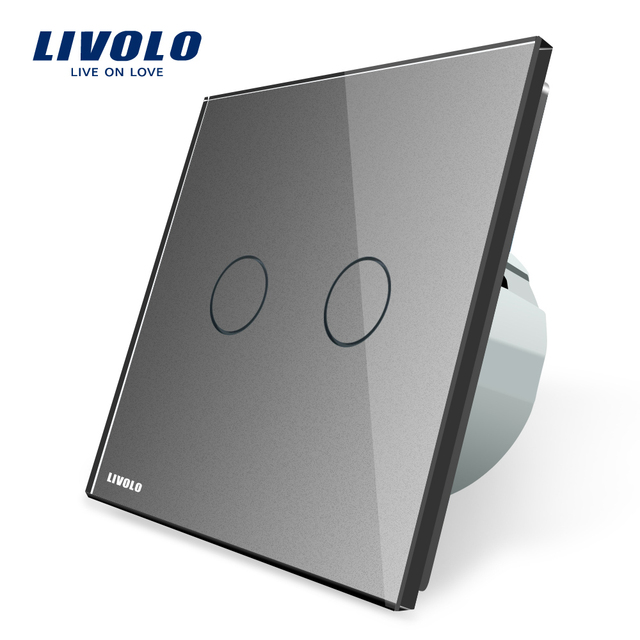 Livolo 2 Gang 1 Way Wall Touch Switch, White Crystal Glass Switch Panel, EU Standard,  220-250V,VL-C702-1/2/3/5 2