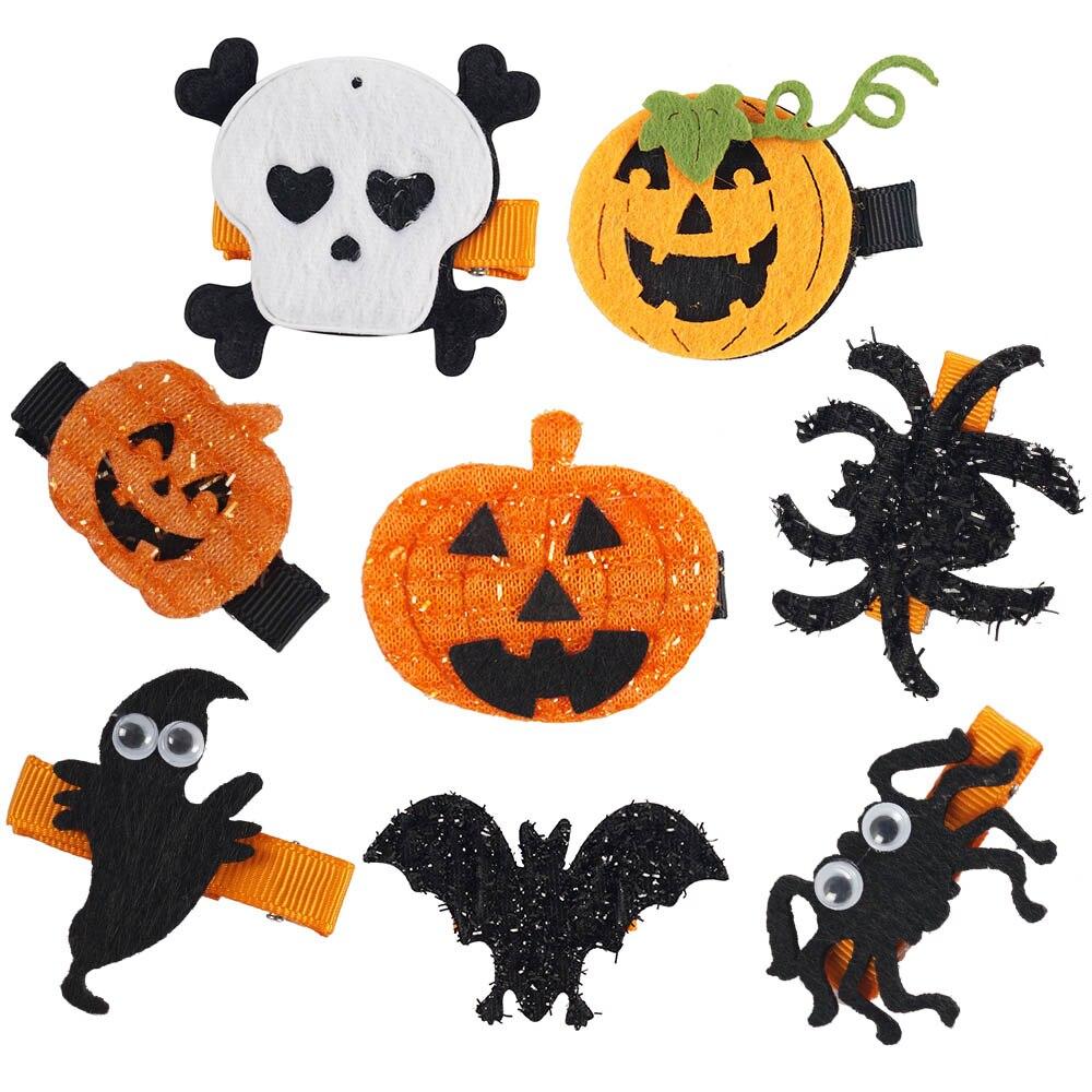 8pcs/lot whosale lovely girl ghost pumpkin hair clips boutique kids