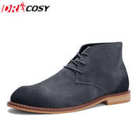 British Style Suede Leather Men Boots Vintage Martin Desert Boots High Top Lace Up Martin Shoes