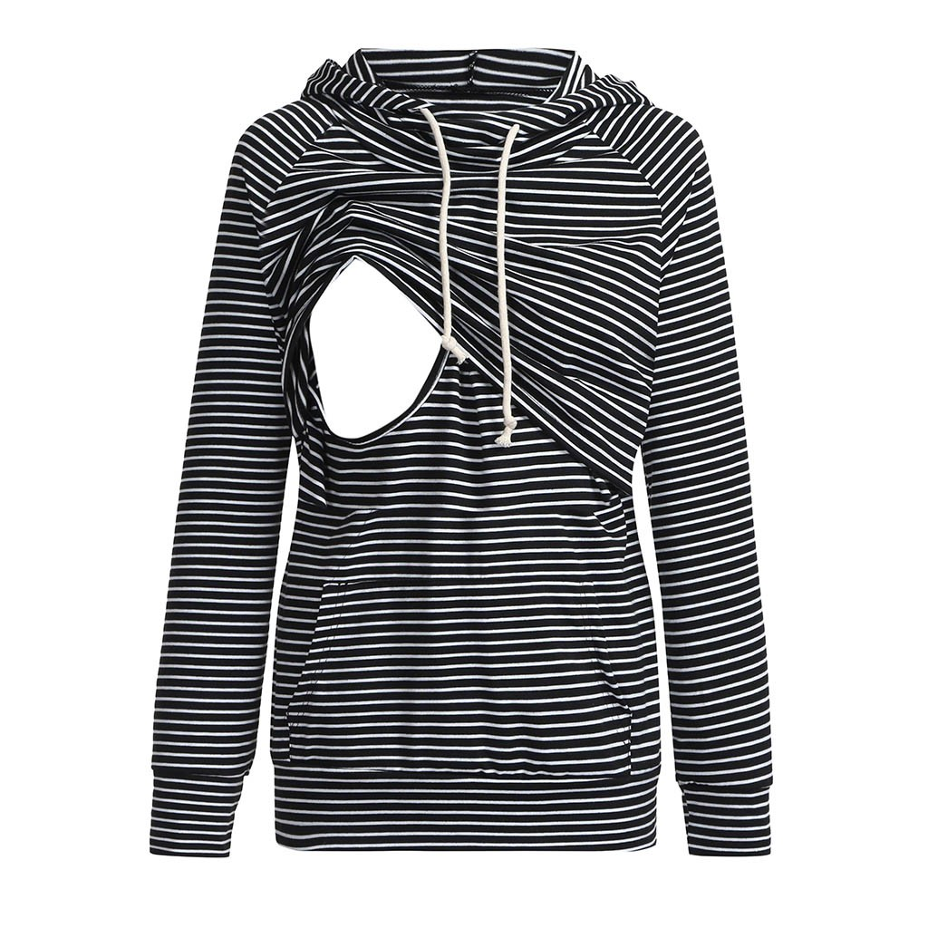 Women's Nursing Hoodie Long Sleeves Striped Tops Fashion Female Breastfeeding Hoodie Sweatshirt Clothing #YL2(China)