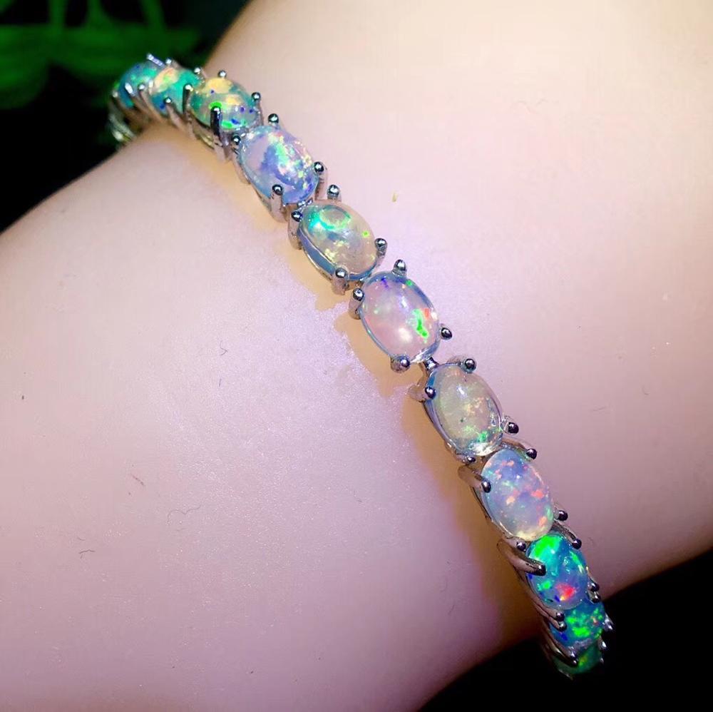 Vente de luxe naturel coloré opale pierres précieuses bracelet femmes bijoux fins 925 en argent sterling bon feux d'artifice naturel gemme cadeau de fête