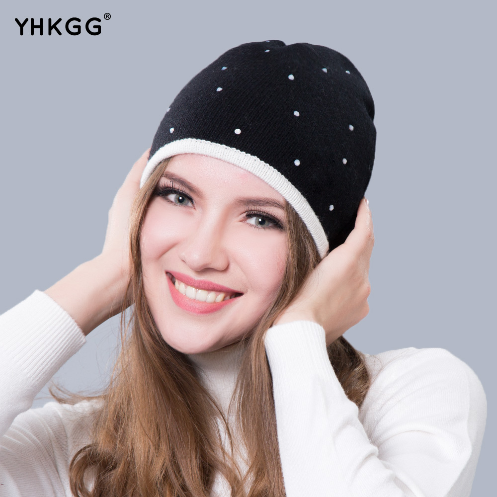 2016 YHKGG Black Knitting Bonnet With Rhinestones Winter Warm Fluffy Pompoms And Replaced Viscosity Bowknot Lovely Hat H001 2017 yhkgg the girl s hat warm and comfortable in winter hats the ornament of a flower cute baby hat knitting hat
