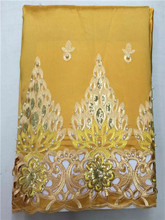 LJ16KWholesale High Quality African George Fabric,yellow African George Lace Fabric For Nigerian Wedding