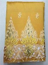 Lj16kwholesale 고품질 아프리카 조지 직물, 나이지리아 결혼식을위한 노란 아프리카 조지 레이스 직물