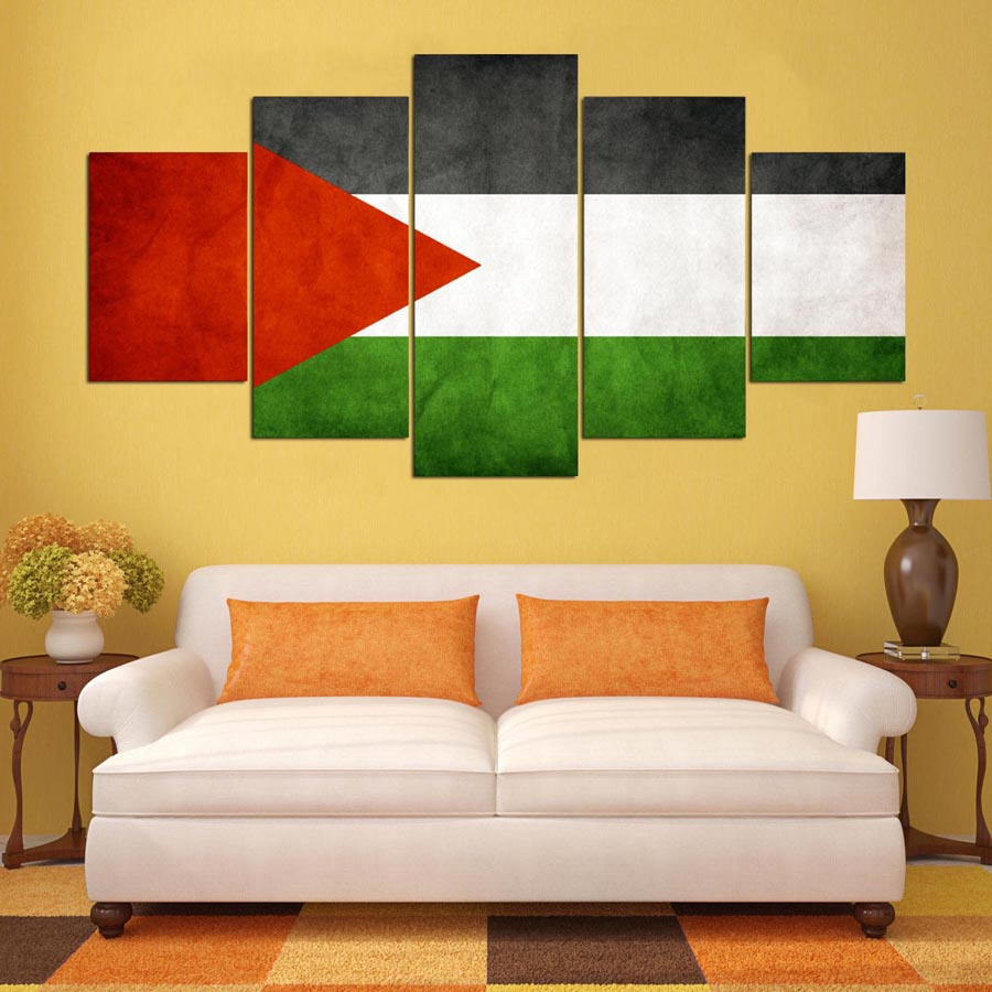 New Design Fashion 5 Panels Palestinian Flag Printed Canvas Painting ...