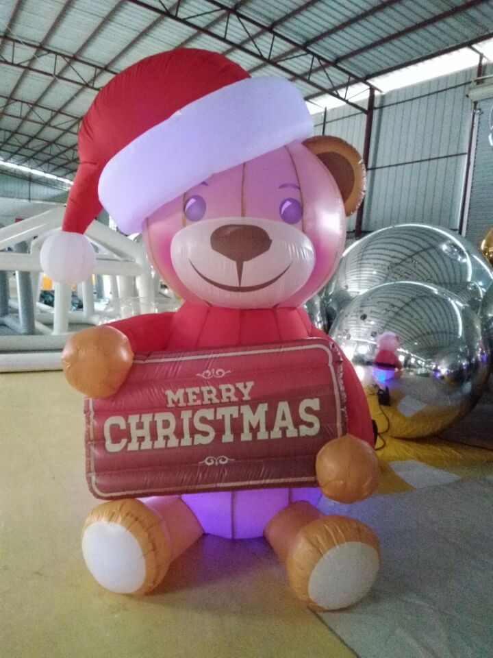Inflatable Christmas Products Lighted Outdoor Yard Decoration Cute Inflatable Bear With Factory Price
