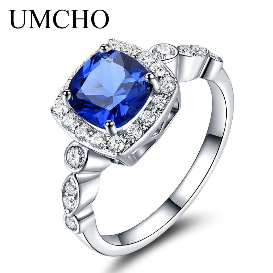 UMCHO Sólido Anel de Prata 925 Anéis de Safira Azul Para As Mulheres Presentes Birthstone Emerald Anel de Noivado Casamento Jóias Presente
