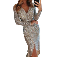 Sequined Shine High Split Girl Evening Party Dress Elegant Sequin Dress Women Sexy Clubwear Winter Dress Femme Robe Plus Size
