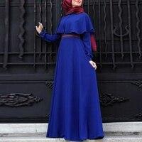 Kaftan Muzułmaninem Sukienka Kobiety W Stylu Vintage Maxi Sukienki 2017 Jesień Z Długim Rękawem Długie Islamski Strój Żółty Niebieski Formalne Suknie Party