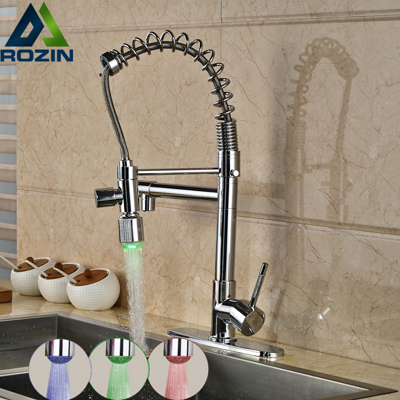 Contemporary Single Lever Brass Kitchen Mixer Taps Deck Mount One Hole LED Light Dual Spout Kitchen Faucet swanstone dual mount composite 33x22x10 1 hole single bowl kitchen sink in tahiti ivory tahiti ivory