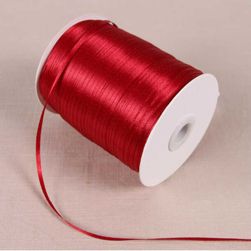 3mm Width 25Yards  Wine Red DIY Material Silk Satin Ribbon For Arts Crafts Sewing Christmas Wedding Party Decoration Gift Wrap