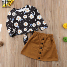 все цены на HE Hello Enjoy Fall Clothing For Girls Sets Fashion Long Sleeve Print Floral Tops+Skirt 2pcs Suits Children Girls Clothes 2-6Y онлайн