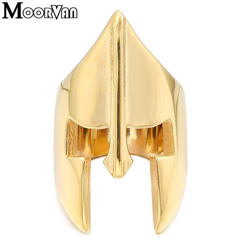 Moorvan jewelry ring for party,fashion men's classical stainless steel style warrior sparta helmet armor rings VR498
