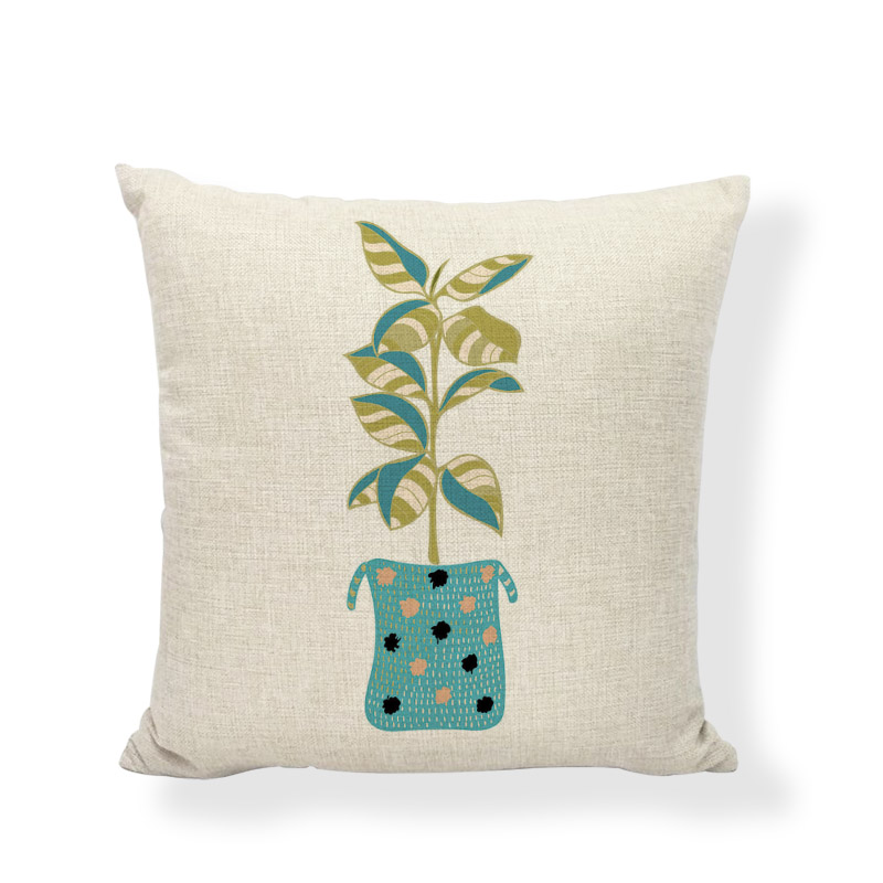 Minimalist Cushion Cover Cactus Flower Aloe 45x45cm Home Bedroom Sofa Dormitory Recliner Decoration Printing Flax Pillow Cases
