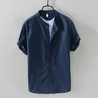Men Shirts New Arrivals Slim Fit Male Shirt Solid Long Sleeve Linen Men's Shirt