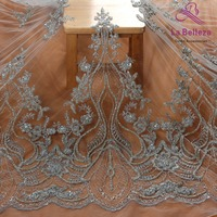 La Belleza 2019 New wedding dress lace fabric new design lace,silver GOLD beaded lace fabric crystal lace 1 yard