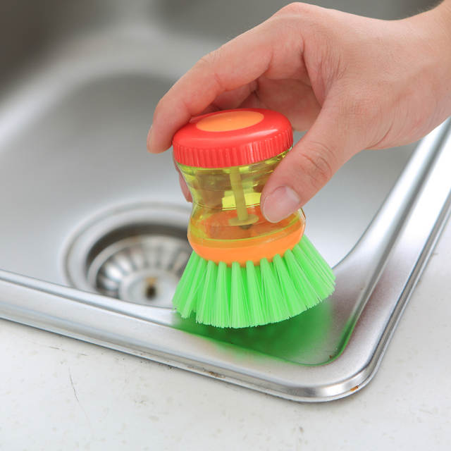 US $3 56 |3 Color Creative Kitchen Cleaning Brush Detergent Tank Plastic  Dish Bowl Utensils Press Washing Liquid Soap Dispenser Accessorie-in  Cleaning