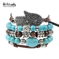 Artilady New Hamsa Hand 5pcs Set Leather Bracelets Boho Turquoise Bracelet Set For Women Jewelry Party