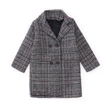 Abrigo de niña a cuadros de lana, moda de invierno para niñas y adolescentes, chaqueta de otoño, ropa de abrigo larga gruesa, a prueba de viento, 13 años