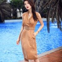 Zanzea Office Dress Linen Robe Summer High Grade V Neck Sleeveless Vertical Stripes Cultivate Morality Show