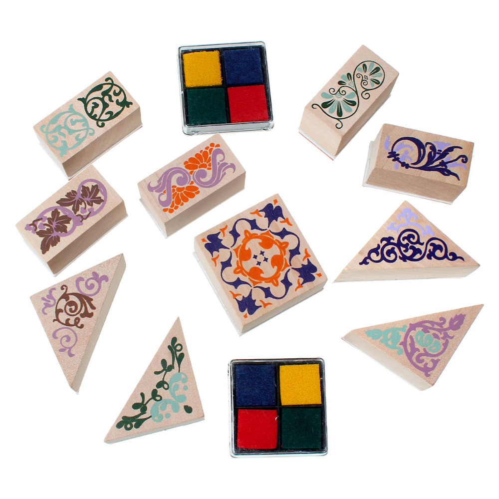 Wood Seal Stamper Mixed Shape Multicolor Mixed Carved Stamp With 2 Ink Pad 4x3.9cm - 3.9x2cm, 1 Set(10 PCs/Set) new 220v photosensitive portrait flash stamp machine kit self inking stamping making seal holder film pad no ink
