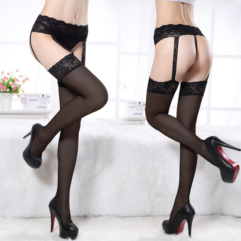 Women Fashion Sexy Hollow Babydoll Stocking Suspender Lace Garter Belt + G-string Thigh-Highs Suspender With Stocking