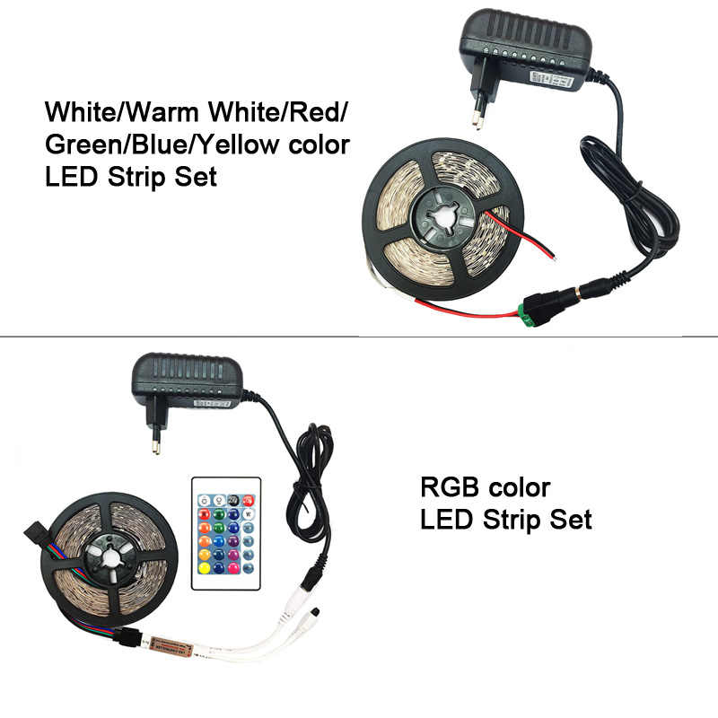 5 Meter 300 LED Tidak Tahan Air RGB LED Strip Light 2835 DC12V 60 LED/M Fleksibel Lampu Pita tape Putih/Warm White/Strip Biru