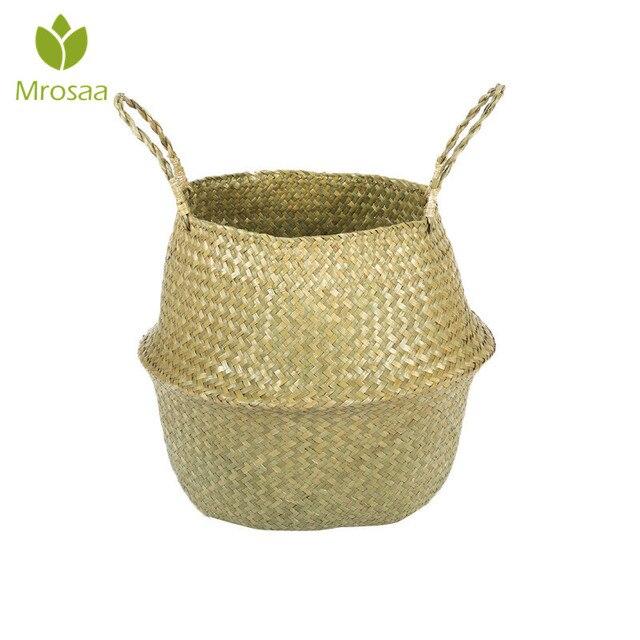 Sıcak Ev Katlanabilir Doğal Seagrass Dokuma Depolama Pot Bahçe Çiçek Vazo Asılı kollu sepet Depolama Göbekli Sepeti