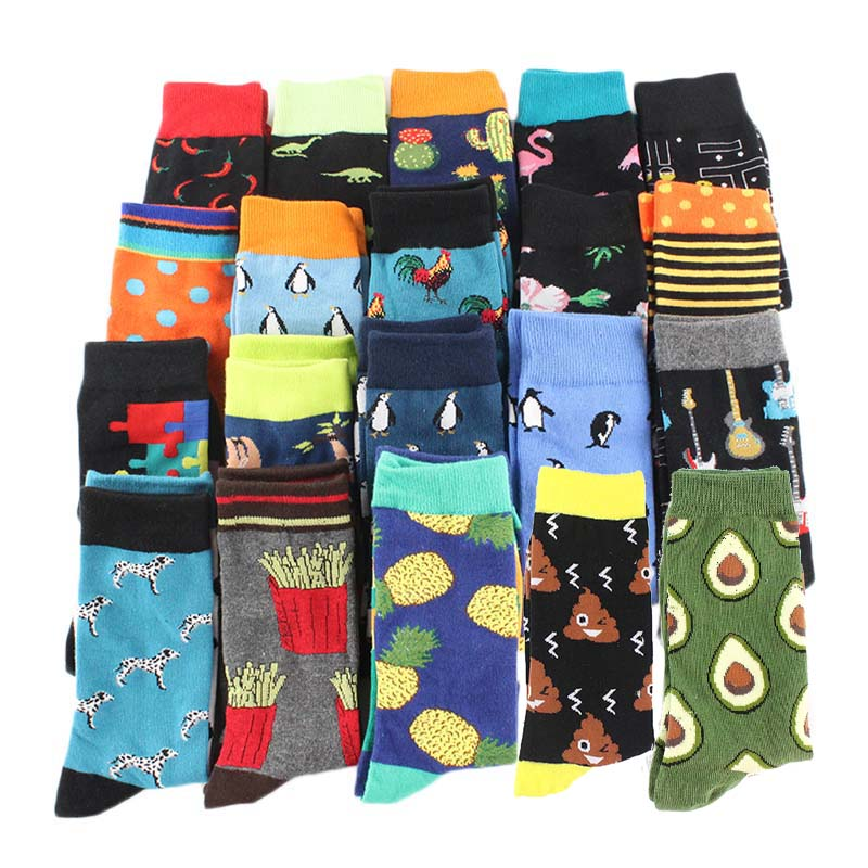 Skateboard Socks Dress Combed Cotton Snack-Pattern Harajuku Funny Novelty Colorful Men's