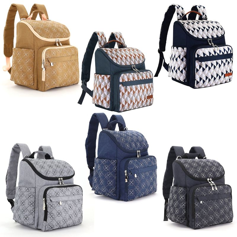 THINKTHENDO Diaper Bag Backpack Anti theft Zipper Pocket Travel Large Capacity Organizer with Baby Stroller Straps