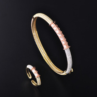Dazz Luxury Bangle Ring Set Lady Women Bridal Fashion Jewelry Sets Wedding Banquet Engagement Indian Accessories Best Gifts 2019