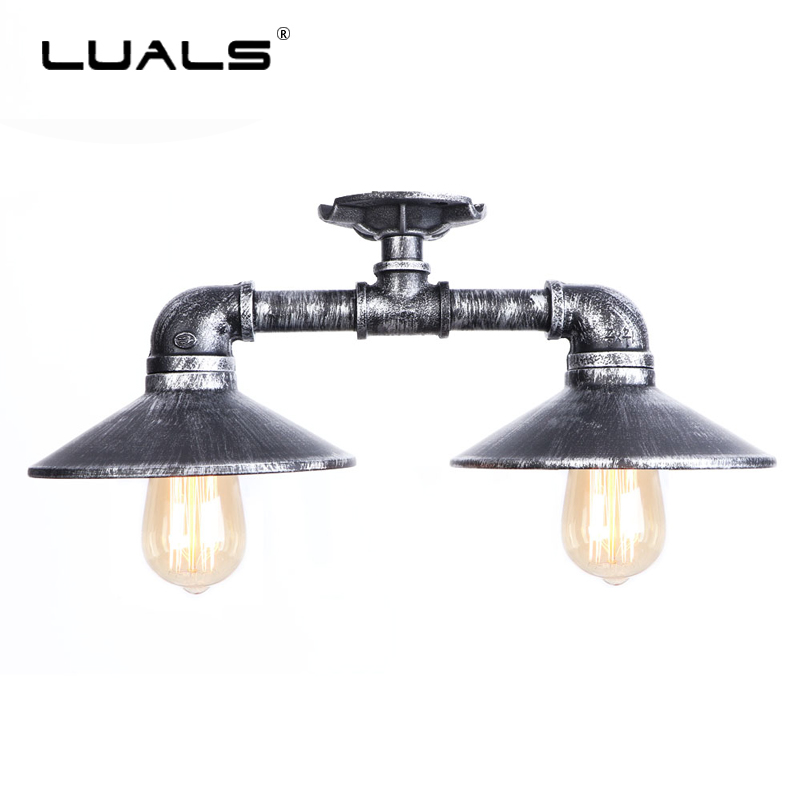 Loft Retro Ceiling Lights Industrial Style Ceiling Lamps Iron pipe Light Fixture Nordic Edison Lamp Cafe Bar Art Deco Lighting philips лампа 12498vp b2