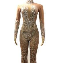 Glisten Gümüş Kristaller Tulum Seksi akşam partisi kıyafeti Tam Rhinestones Bodysuit Kostüm Balo Doğum Günü Kutlamak Kıyafet
