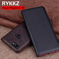 RYKKZ Genuine Leather Flip Cover For Ausu Pegasus 4S Protective Case Leather Cover For Zenfone Max Plu Free Shipping