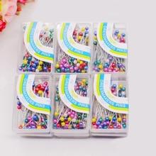 Круглые булавки для шитья 100 шт./лот, сделай сам, для шитья цветов, цветные, Свадебный корсаж, жемчужная головка, швейные инструменты