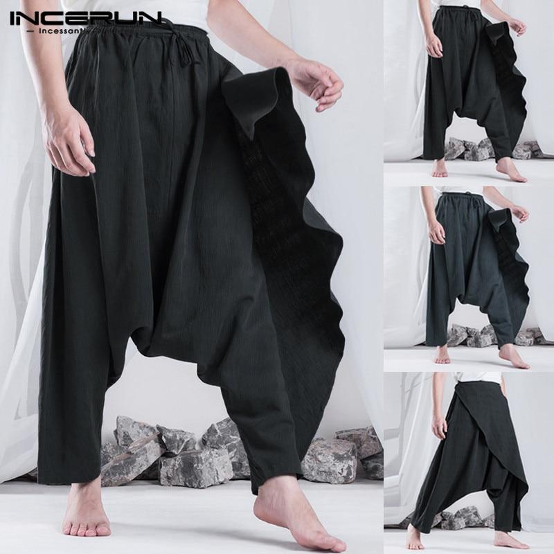 INCERUN Men Harem Pants Hiphop Dance Trousers Fashion Women Casual Pants Drop Cross-Pant 5XL Sweatpants Joggers Hombre Pantalon