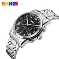 2016 New Casual Quartz Watch Men Luxury Business Waterproof Wristwatches Stainless Steel SKMEI Brand 9121 Relogio