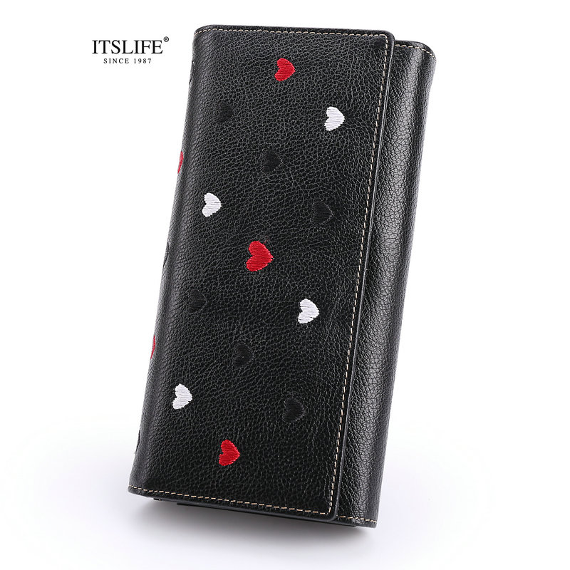 ITSLIFE 2018 New Womens Genuine Leather Wallets Bifold Design Zipper Purse Cowhide High Quality Ladies Clutch